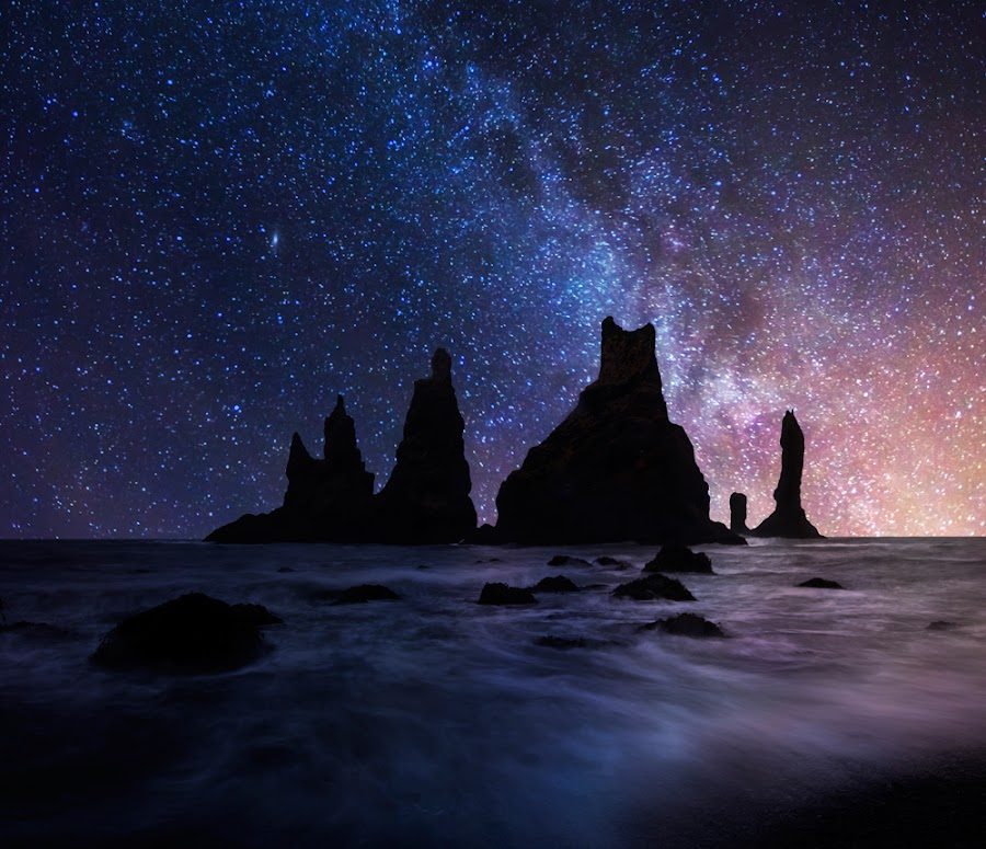 Space Pinnacles ... by Iurie Belegurschi - Landscapes Starscapes ( iceland, vik, pinnacles, milky way )