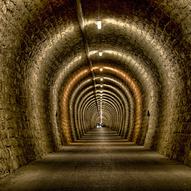 Valeta tunnel by Joško Šimic - Buildings & Architecture Architectural Detail ( footpath, old, corridor, street, indoors, architecture, no people, dark, empty, strunjan, diminishing perspective, light at the end of the tunnel, everypixel, underpass, cellar, spooky, backgrounds, light - natural phenomenon, narrow, vanishing point, primorska, slovenia, portorož, underground, tunnel )
