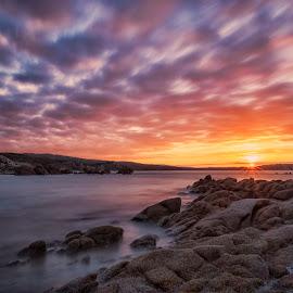 Rena Majori by Maurizio Mameli - Landscapes Sunsets & Sunrises ( clouds, sky, sardinia, sunset, sea, seascape, landscape, longexposure, sardiniacolors, rocks, sun )