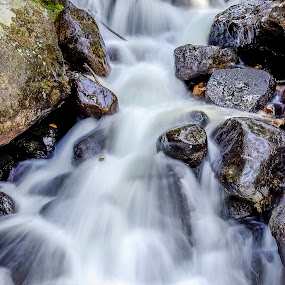 St Vrain Creek #1 by Frank Barnitz - Landscapes Waterscapes ( vertical, flowing, waterfall, colorado, cascades, grey, brown, rocks )