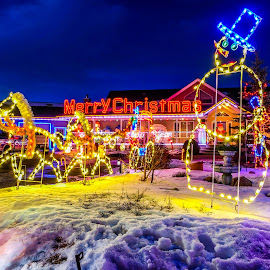 Christmas by Joseph Law - Public Holidays Christmas ( winter, leduc, alberta, lighting, snow, christmas, farmhouse )