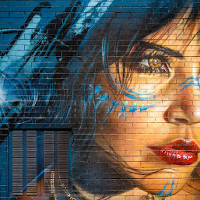 Pouting Cherrokee by Phil Hanna - City,  Street & Park  Street Scenes ( grafitti, urban, urbex, blue, graffiti, art, street art, lips, bricks )