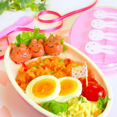 Three Little Rabbits Character Bento made with Round Hot Dog Weiners