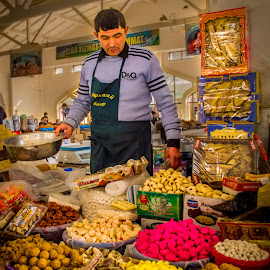 Bazaar (Market) in Bukhara, Uzbekistan by Sergey Sibirtsev - City,  Street & Park  Markets & Shops ( shop, market, sales, local, bazaar, man, sale,  )