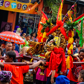 Hail the Lord! by OC Andoko - People Street & Candids ( street, candid, festival, black god, cap go meh )