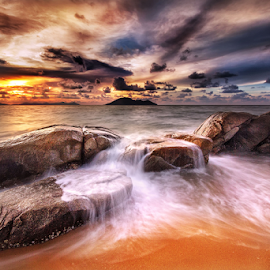 Coral and waves sunset by Dany Fachry - Landscapes Beaches