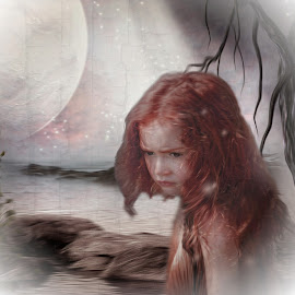 the lost planet by Kathleen Devai - Digital Art People ( water, child, planet, moon, lost, star )