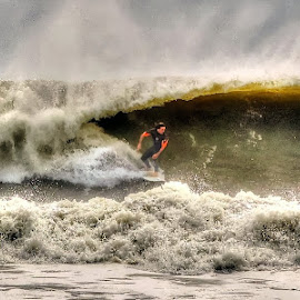Surfers at Lido Beach, NY by Joseph Tague - Sports & Fitness Surfing ( sky, surfing, surfer, waves, surfers paradise, ocean, beach, hurricane )
