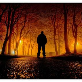 Me by Darren Wright - People Fine Art ( person, fog, orange glow, night, man, mist )