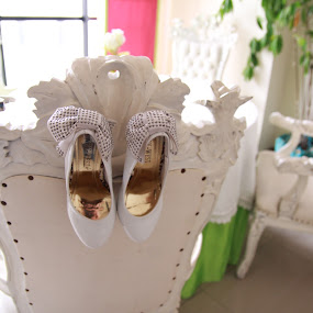 hanging shoes by Teguh Adi - Wedding Details ( chair, shoed, inside, white, four, gold )