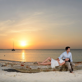 A boat at Sunset by Andrew Morgan - Wedding Bride & Groom ( love, zanzibar, happy, sunset, sea, island )