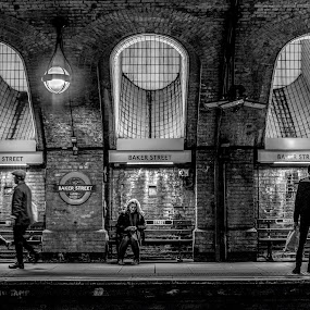 Waiting by Corin Spinks - People Street & Candids ( sitting, london, waiting, arches, underground, standing, people )