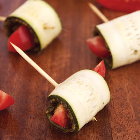 Raw Zucchini Roll Ups with Presto Pesto