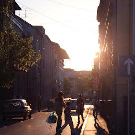 Dusk by Katarina Vrhovac - City,  Street & Park  Neighborhoods ( school, hands, shadow, street, night, dusk, sun, photography )