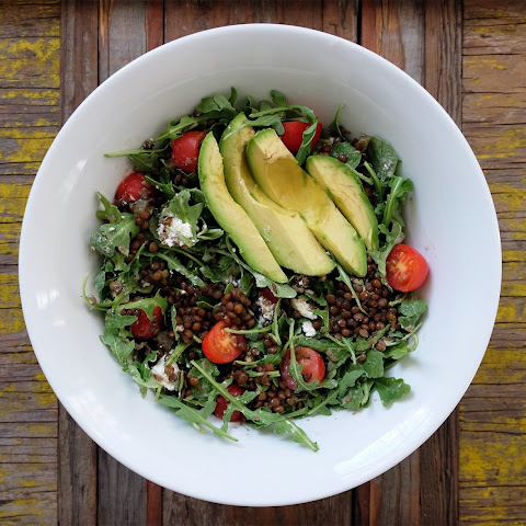 Lentil Salad with Avocado & Arugula