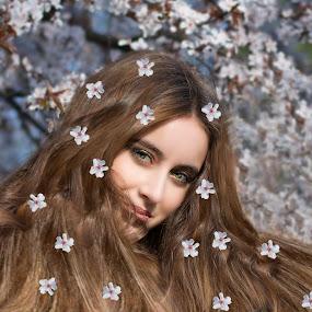 Cherry by Cosmin Lita - Digital Art People ( cherry, woman, beauty, spring, portrait )