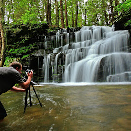 Playing in the Falls by Travis Houston - Landscapes Waterscapes ( photographers, taking a photo, photographing, photographers taking a photo, snapping a shot )