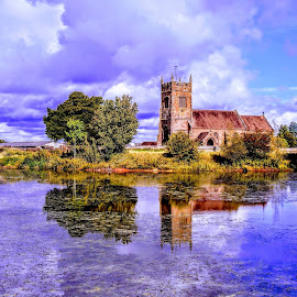 Sunny Shropshire  by Ian Popple - Buildings & Architecture Places of Worship ( water, church, place of worship, reflections, shropshire )