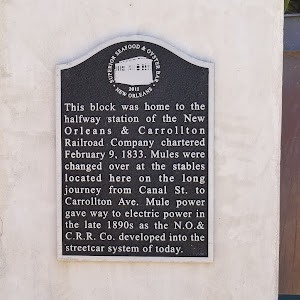 This block was home to the halfway station of the New Orleans & Carrollton Railroad Company chartered February 9, 1833. Mules were changed over at the stables located here on the long journey from ...