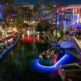 Christmas lights in San Antonio River walk  by Roxana McRoberts - Public Holidays Christmas ( river walk )