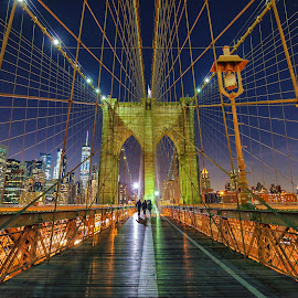 On The Bridge by Carol Ward - Buildings & Architecture Bridges & Suspended Structures ( brooklyn bridge, night photography, manhattan, night, new york city, bridge, new york, nyc, brooklyn, nightscape,  )