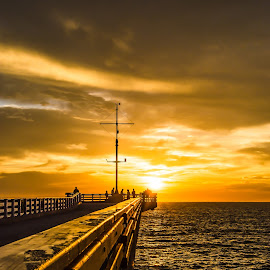 Off the edge  by Cindy Bester - Buildings & Architecture Bridges & Suspended Structures ( clouds, sea, pier, sunrise, people, sun )