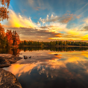 Autumn in Norway by Rose-marie Karlsen - Landscapes Sunsets & Sunrises ( clouds, autumn, sunset, watershot, leaf, fall, leaves,  )
