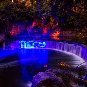 ASK Me About The Waters Flow, It Puts on Quite a Show by Aaron Krosner - Abstract Light Painting ( high powered laser, waterfall, long exposure, laser, light art )