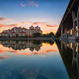 Skyline Reflection by Lb Chong Jacobs - City,  Street & Park  Skylines ( clouds, landmark, building, reflection, skyline, color, bridge, morning, landscape )