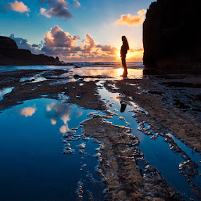Sunzarote by Henrik Spranz - Landscapes Travel ( clouds, water, mirror, girl, sunset, lanzarote, sea, ocean, beach, volcanic, rocks, island )