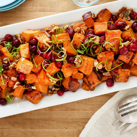 Roasted Sweet Potatoes with Cranberry-Chipotle Sauce