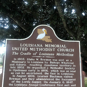 In 1805, Elisha W. Bowman was sent as a Missionary to Louisiana by Bishops Whatcoat and Asbury, reaching Appelousas territory in late 1805. He organized a Methodist Society in Opelousas early in ...