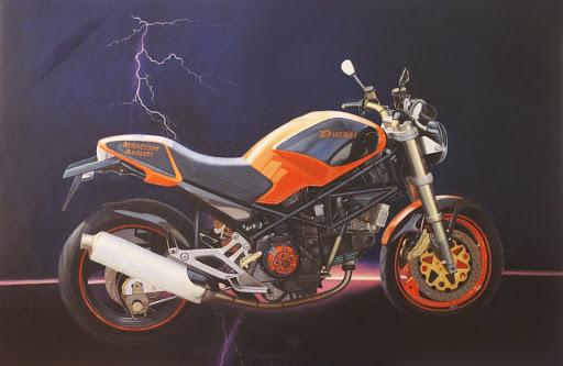 Ducati Arancione Monster - Olieverf op Canvas - 60 x 90 cm