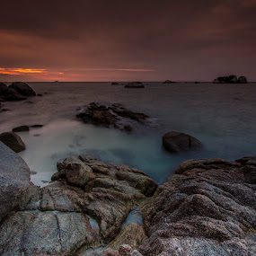 Cloudy Sunset Over Tanjung Kelayang Beach Belitong  by Aloysius Alphonso - Novices Only Landscapes