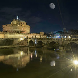 Castello Saint Angelo in Rome, Italy by Benjamin Tucker - Buildings & Architecture Public & Historical ( water reflection, castello st. angelo, night photography, rome, italy )