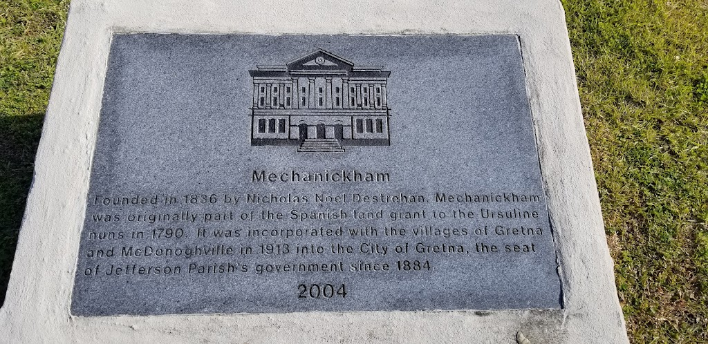Founded in 1836 by Nicholas Noel Destrehan, Mechanickham was originally part of the Spanish land grant to the Ursuline nuns in 1790. It was incorporated with the villages of Gretna and McDonoghville ...