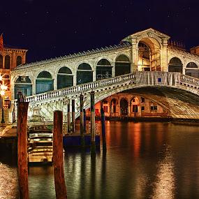 Rialto Bridge by Gary Beresford - Buildings & Architecture Bridges & Suspended Structures ( rialto, reflection, time exposure, rialto bridge, venice, night, canal, bridge )