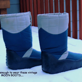 Not Deep Enough For Moon Boots by Becky Luschei - Typography Captioned Photos ( 1970's, footwear, snow, wear, deep, moon boots )