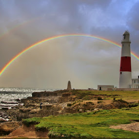 Portland Lighthouse by Simon Lambert - Landscapes Weather ( weymouth, double rainbow, portland, bench, waterscape, lighthouse, england south west coast, rainbow )