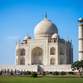 Taj Mahal Front (Angled) by Joe Boyle - Buildings & Architecture Statues & Monuments ( history, statue, mausoleum, grand, art, taj mahal, monument, india, historical, big, artwork )