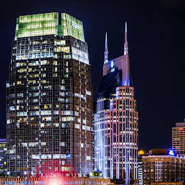 Nashville Juggernauts by Kenneth Everett - Novices Only Landscapes ( tn, skyline, ken, 2014, locations, nashville, tennessee, night, october, everett, downtown, photography )