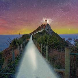 Kaka Point Night by Jomy Jose - Digital Art Places ( light trail, hannahsdreamz, light house, kaka point, night, jomy jose )