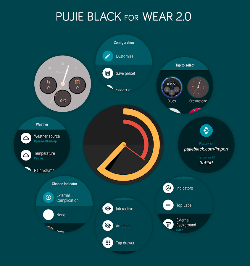 Pujie Black Android Wear Watch Face Designer Screenshot 1