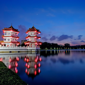 The Twin Pagoda by Lolit Whorlow - Buildings & Architecture Places of Worship ( #reflection #blue hour )