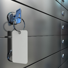 Safe deposit boxes and key by Alexey Romanenko - Illustration Business ( nobody, reflection, deposit, secure, indoors, door, depository, security, savings, drawer, business, protected, metal, banking, closed, bank, closeup, key, lockers, confidential, shiny, office, protection, safe, blank, depositary, cell, privacy, lock, 3d illustration, label, vault, gray, steel, secrecy, safekeeping, row, solid, system, safety, keyhole, service, account, finance, box, archive, storage )