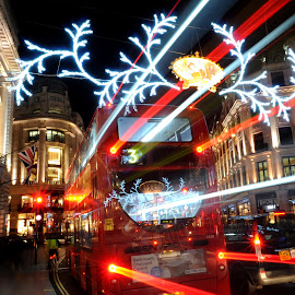 Bus Stop by DJ Cockburn - Public Holidays Christmas ( lights, bus, winter, london, street, christmas lights, christmas, night, road, regent street,  )