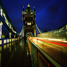 Tower Bridge - London by Tarun Jha - Buildings & Architecture Bridges & Suspended Structures ( england, london, tower bridge, light trails, dark clouds, evening )