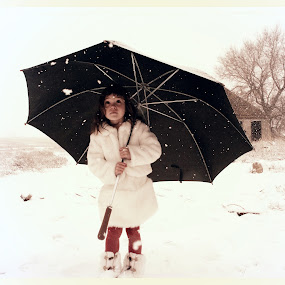 by Lori Lei Herr - Babies & Children Children Candids ( snowfall, umbrella, white, children, farm, child, girl, red, barn, color, fur coat, snow, black )