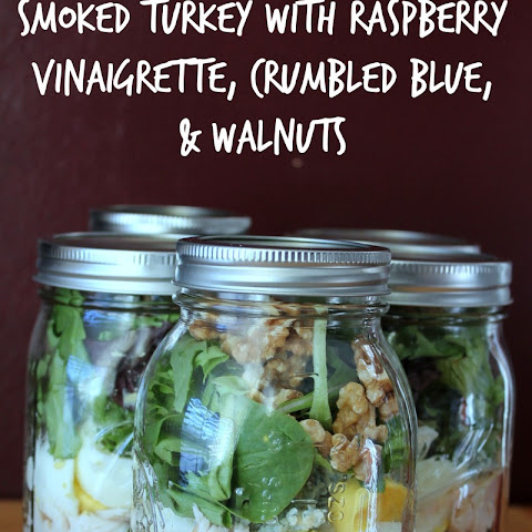 Smoked Turkey With Raspberry Vinaigrette, Crumbled Blue, and Walnuts