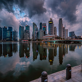 by Gordon Koh - City,  Street & Park  Skylines ( shenton way, clouds, skyline, skyscraper, financial district, riverfront, jubliee bridge, buildings, travel, cityscape, singapore, city )